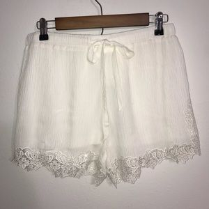 Mittoshop White 100% Rayon Lace Trim Shorts Large